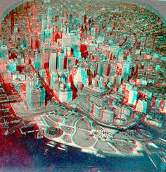 New York from a ove Foto 3d, New York From Above, 3d Pictures, Fun At Work, 3d Wallpaper, Big Game, Aesthetic Pictures, Red And Blue, City Photo