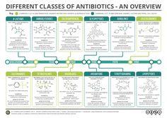 Different classes of antibiotics.