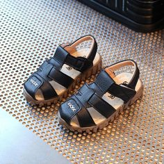 34958668da6c2 Leather Summer Boys Sandals Comfortable Flats Shoes Slip Toddler Sandals
