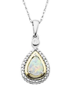 Opal (3/8 ct. t.w.) and Diamond Accent Teardrop Pendant Necklace in 14k Gold and Sterling Silver