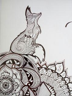 Zorro mandala Dark Art Drawings, Pencil Art Drawings, Colorful Drawings, Easy Drawings, Animal Drawings, Small Fox Tattoo, Fox Quilt, Flower Outline, Back Tattoo Women