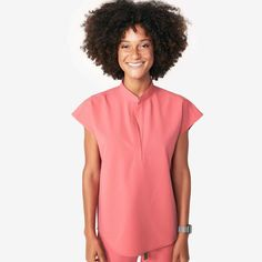 The women's Catarina scrub top has a slim fit while allowing free and easy movement. Part of FIGS' Technical collection of tailored-fit scrubs. Lab Coats, Scrub Pants, Scrub Tops, Mandarin Collar, Along The Way, Skinny, Womens Fashion, Casual, Figs