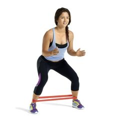 Small side steps with knees pointing out, pushing from the glutes.