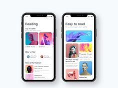 Social Network App Design by Jack W. for Queble on Dribbble Mobile Application Design, Mobile Web Design, Ios App Design, Interface Design, User Interface, Card Ui, App Design Inspiration, Music App, Site Internet