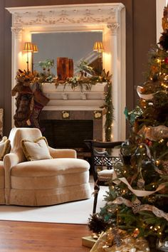 Beautiful Holiday Living...mantle and tree.  By Victoria magazine.