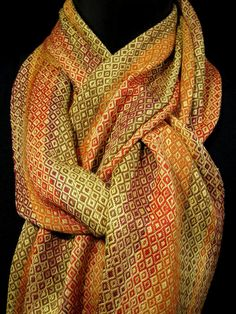 fall scarf hand woven scarf orange gold brown