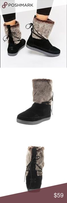 NWT Toms Nepal boots New with Tags Toms women's boots  Nepal with black suede  Never worn!  Super cozy! Toms Shoes Winter & Rain Boots