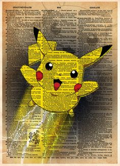 Pokemon art, Pokemon Pikachu, video game art, Pokemon poster printed in a cool pop art style on vintage dictionary page. Pikachu leaps into action powered by lightning!! These unique and original artw