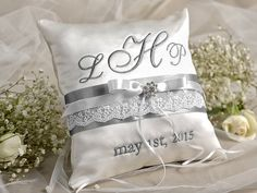 Wedding Pillow Ring Bearer Pillow Embroidery by forlovepolkadots