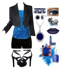 """""""black and sapphire """" by sjoberty-sj ❤ liked on Polyvore featuring River Island, GUESS, FerrariFirenze, BERRICLE, Allurez, Yves Saint Laurent, Lise Watier, Lipstick Queen and Essie"""