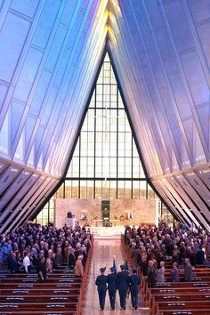 Chapter 28: Interior of the Air Force Academy Chapel in Colorado Springs, Colorado. Geometric Modern