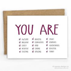 "Birthday Card / Encouragement / Just Because / Congrats Card You Are: Correct Answer: All of the Above - Blank Inside - A2 size (4.25"" x 5.5"") - 100% Recycled Heavy Card Stock with 100% Recycled Kraft"