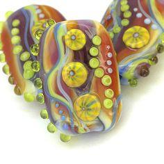 Zing  Handmade Lampwork Glass Bead Set by Sarah Hornik, $42.00