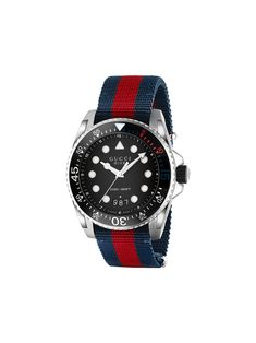 GUCCI Dive nylon and stainless steel watch – Watches Men's Watches, Sport Watches, Luxury Watches, Jewelry Watches, Cheap Watches, Gucci Watches For Men, Leather Watches, Nice Watches, Armani Watches