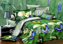 beige calla floral butterfly oil painting print 3D bedding set discount queen full bed linen duvet covers for quilt/comforter(China (Mainland))