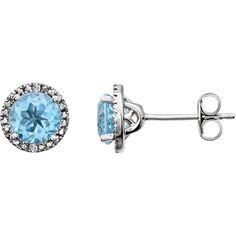 Sterling Silver Sky Blue Topaz & .01 CTW Diamond Earrings