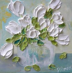 "Oil Painting impasto canvas painting ""Vintage White Tulips"" Palette Knife Painting, Wedding,"