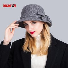 Classic bow cloche hats for women high quality Australia wool felt hat Autumn Winter Fashion Ladies Bucket cap