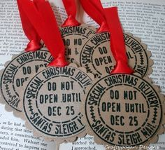 Beautiful set of 6 Handmade Gift Tags which add the perfect finishing touches to your Holiday Giftwrap and Gift Giving.  Each Tag has been die cut by