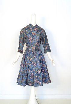 Vintage 1950s Dress / 50s Dress / BLAUE DONAU Dress / Rose Print Dress / Medium M on Etsy, Sold
