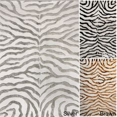 @Overstock.com.com - nuLOOM New Zealand Faux/Silk Zebra Rug (4' x 6') - This Zebra rug will add a stylish touch to your exotic home decor. The viscose is used in the stripes giving this rug a bold new look that sets it apart. This lavish pattern is featured in various colors.    http://www.overstock.com/Home-Garden/nuLOOM-New-Zealand-Faux-Silk-Zebra-Rug-4-x-6/5098383/product.html?CID=214117  $129.14