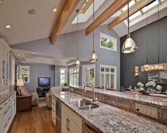 Vaulted Ceiling Lighting Ideas Contemporary Kitchen Skylights Recessed Lights Mini Pendant