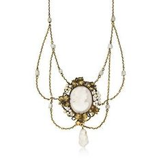 C. 1900. Vintage Victorian Agate Cameo and Cultured Pearl Lavaliere Necklace In 14kt Yellow Gold. 19""