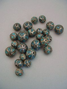 Vintage TURQUOISE Loose BEADS Silver Inlay Tribal Tibetan Bead 24 Pieces Jewelry Supplies c.1940's #GenuineTurquoiseBeads $25.00 http://www.etsy.com/listing/169572867/vintage-turquoise-loose-beads-silver?ref=shop_home_active