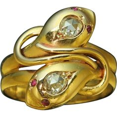 66f3bc7d7e0 Double snake serpent Victorian ring with rose cut diamonds and rubies