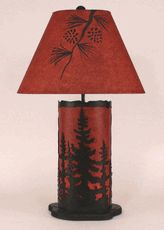 Pine Trees Table Lamp with Nightlight - Red