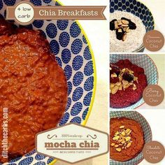 Click on the picture to see how easy it is to make these low carb chia breakfasts. 4 recipes in one - genius. If I knew it was this easy, I would have made these long ago. | ditchthecarbs.com