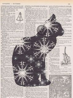 Cat,Stars.Feline.Book Page.gift.birthday.Repurposed Vintage Book.affordable home…