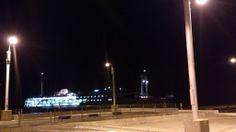本日の定期船は三池港に入港。 気温9度。 満天の星空です。