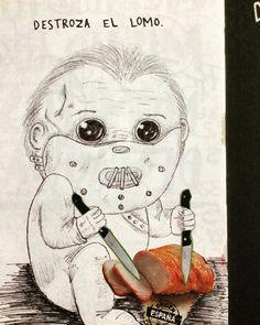 Destroza el lomo #wreckthisjournal #wtj . Inspirado en http://m.listas.20minutos.es/lista/diez-famosos-personajes-de-terror-convertidos-en-tiernos-bebes-396417/