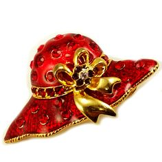 """Red Hat Brooch Vintage Pin Enamel Rhinestone Bow Gold Tone Brand: Unbranded Measures: 3/4"""" x 1 1/2"""" (1.90cm x 3.81cm) Color: Red Metal: Gold tone Stone: Rhinestone In pre-owned condition with no damag"""