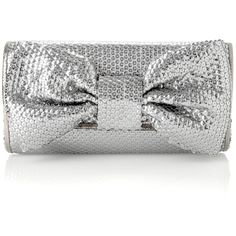 sparkle bow clutch (115 QAR) ❤ liked on Polyvore featuring bags, handbags, clutches, borse, purses, accessories, women, french connection handbags, sparkly handbags and sequin clutches