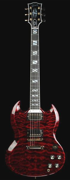 Gibson Custom Shop Limited Edition SG Custom Quilt in Fire Tiger Sg Guitar, Music Guitar, Cool Guitar, Acoustic Guitars, Bass Guitars, Gibson Sg, Gibson Les Paul, Musica Love, Mundo Musical