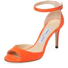 Jimmy Choo Women's Annie 85 Suede Sandal - Orange, Size 36 ($500) ❤ liked on Polyvore featuring shoes, sandals, orange, high heels sandals, jimmy choo sandals, heeled sandals, wrap around ankle sandals and wrap sandals