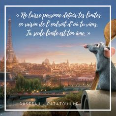 How to be motivated to jump out of bed? Disney And Dreamworks, Disney Pixar, Citations Disney, Ratatouille Disney, Collection Disney, Film Disney, French Quotes, Disney Addict, Book Images