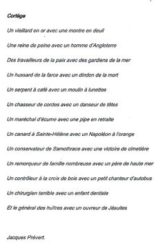 Cortège - Jacques Prévert