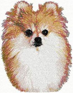 Pom Machine Embroidery Design in Photo Stitch Technique Cross Stitch Embroidery, Cross Stitch Patterns, Quilt Patterns, Advanced Embroidery, Machine Embroidery Designs, Embroidery Ideas, Photo Stitch, Pomeranian, Dog Art