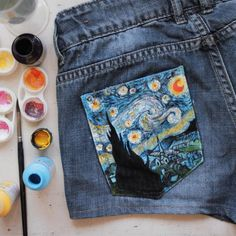 Starry Night painted on jeans' pocket