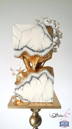 Concrete Marble Wedding Cake by Sophia Fox - http://cakesdecor.com/cakes/288812-concrete-marble-wedding-cake
