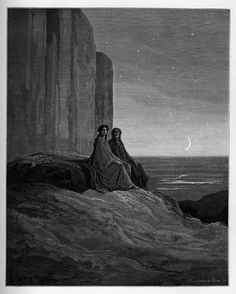 Purgatory: Dante and Virgil's first night in Purgatory. Creator: Doré, Gustave Date: c.1868
