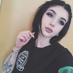 """""""Wish you were here"""" Tee from 🖤 Emo Makeup, Beauty Makeup, Hair Makeup, Hair Beauty, Asian Makeup, Korean Makeup, Sexy Tattoos, Girl Tattoos, Mujeres Tattoo"""