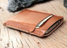 2 side mini beige leather iphone case by SakatanLeather on Etsy, $26.00