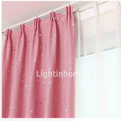 Cute Inexpensive Blackout Kids Room Pink And Silver Star Curtains