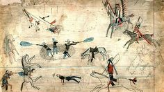 Kiowa ledger drawing of Buffalo Wallow battle of 1874 between South Plains Indians and the US army during the Red River War.