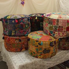 Furniture Home & Garden Radient Khambadia Indian Pouf Cover Embroidery Round Ottoman Cover Patchwork Home Decor Modern Techniques