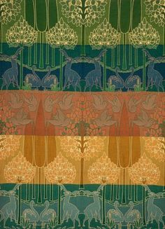 Stags & Swans in a Landscape hanging, by C.F.A.Voysey for Alexander Morton & Co. Woven wool. England, 1899.
